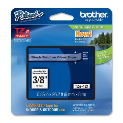 BROTHER TZ LAMINATED TAPE BLACK ON CLEAR 0.35 IN X 26.2 FT